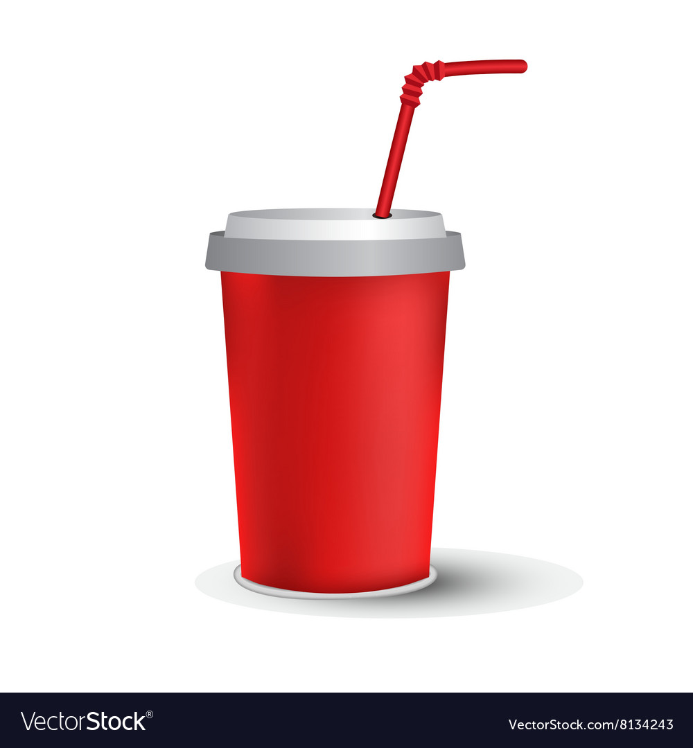 Red paper cup template vector