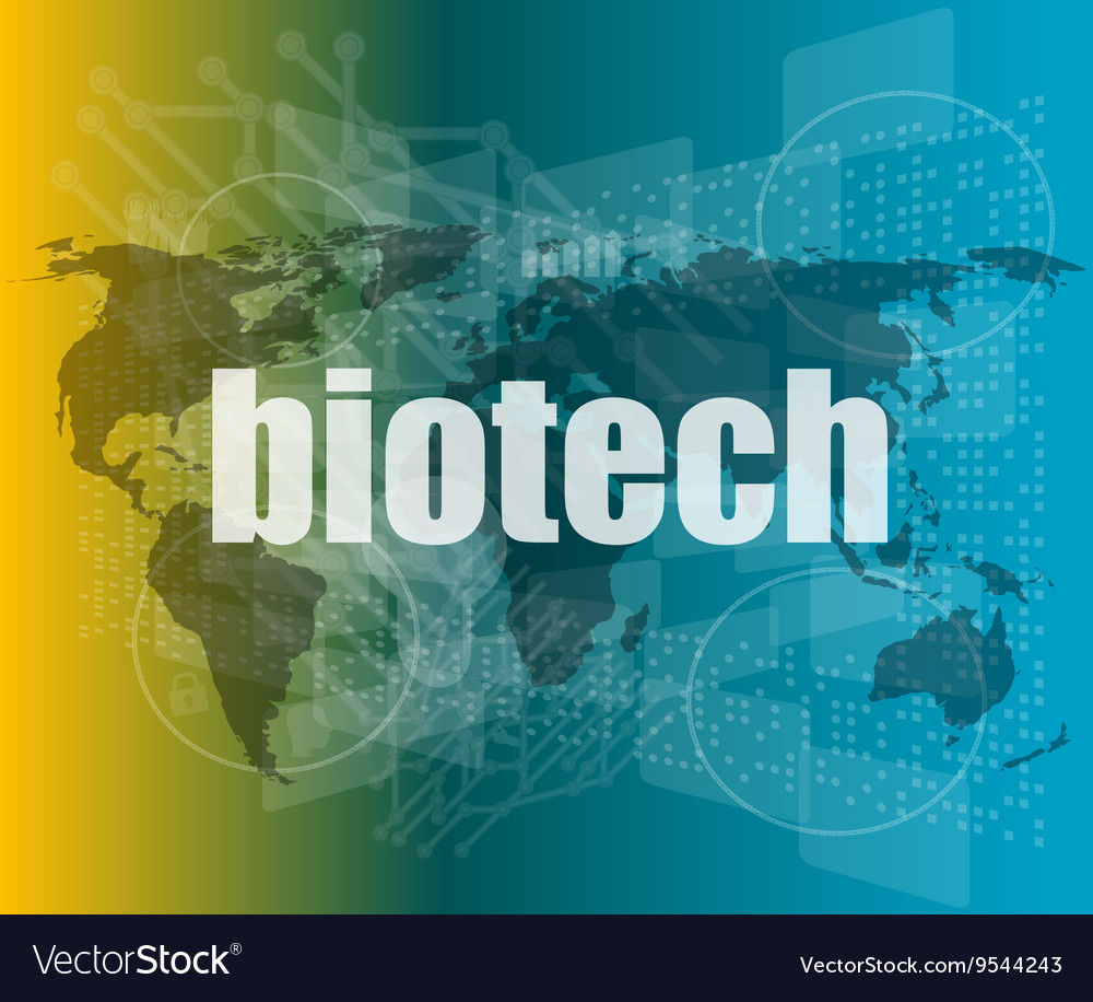 Word biotech on digital touch screen background vector