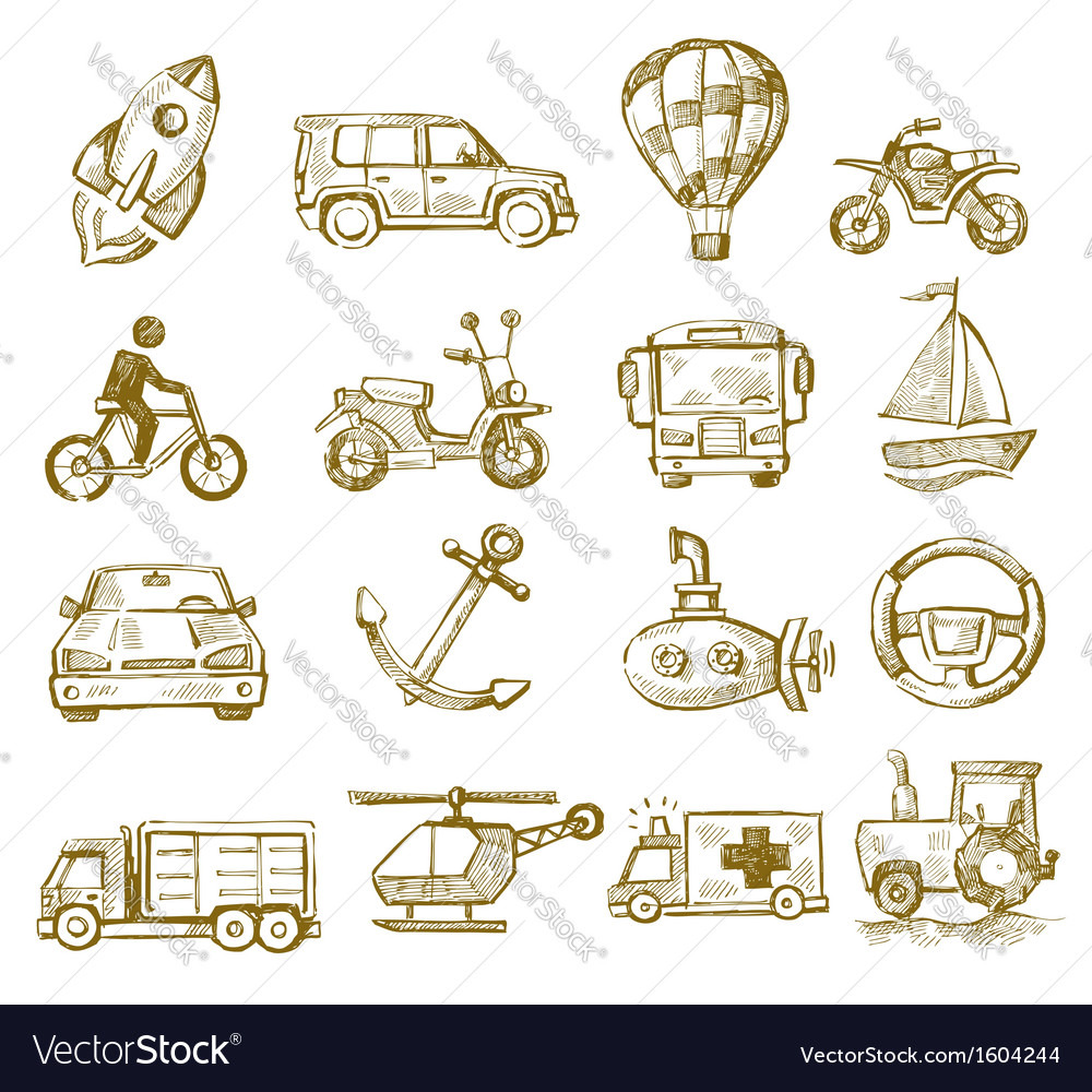 Hand drawn transport vector