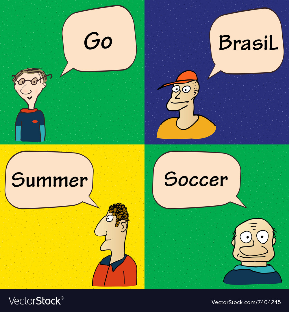 Guys talking about soccer in brasil vector