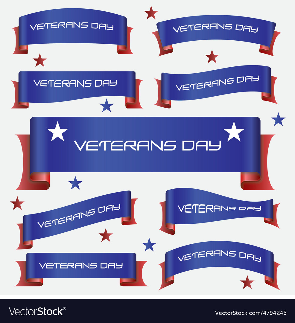 Red and blue curved veterans day ribbon banners vector