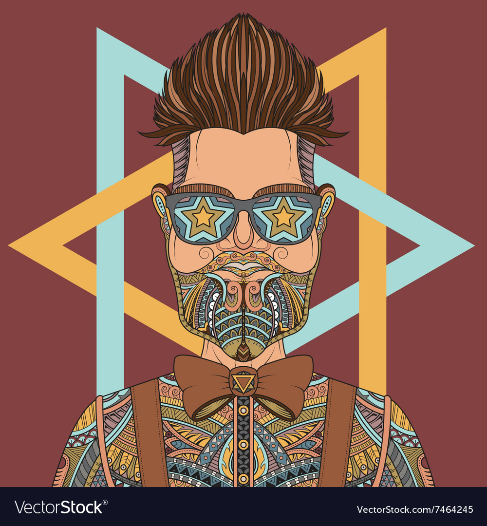 Young hipster man wearing glasses tattoo vector