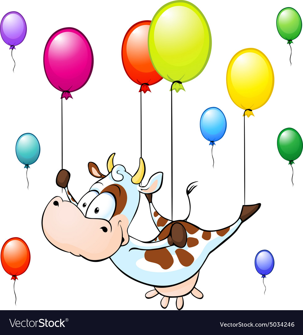 Funny cow flying with colorful balloon isolated on vector