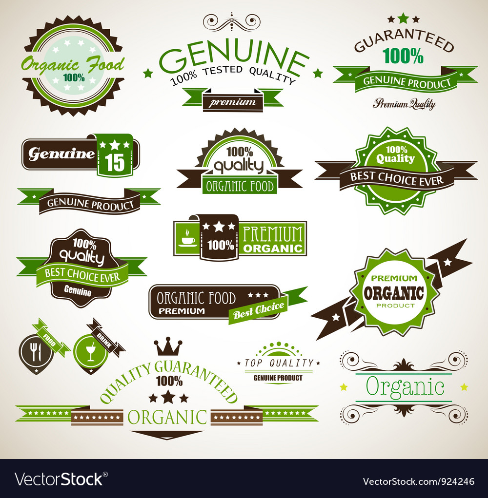 Organic and genuine product labels vector