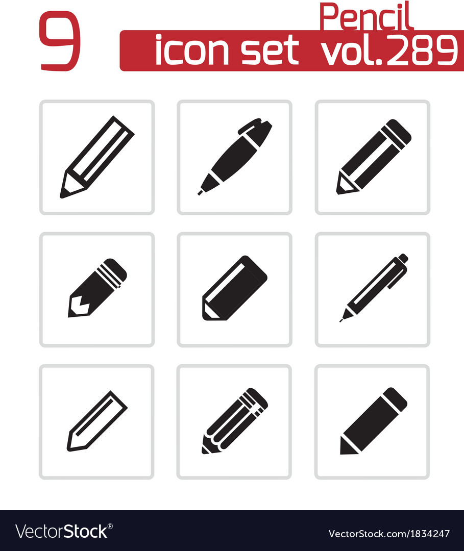 Black pencil icons set vector