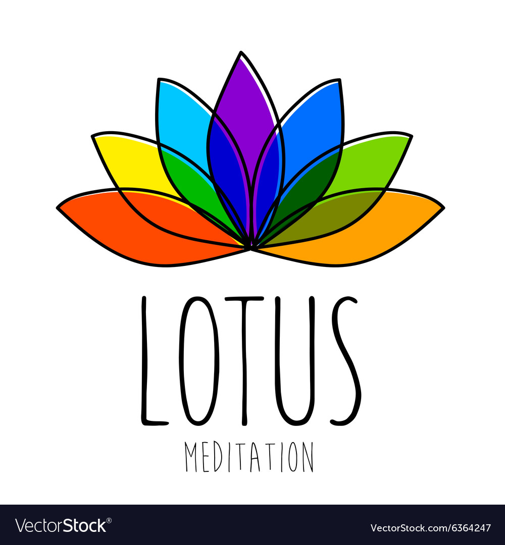 Lotus meditation logo sign vector