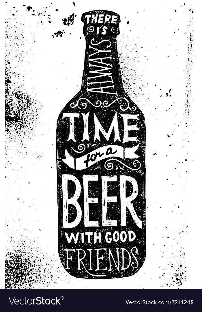 Beer bottle with type design vector