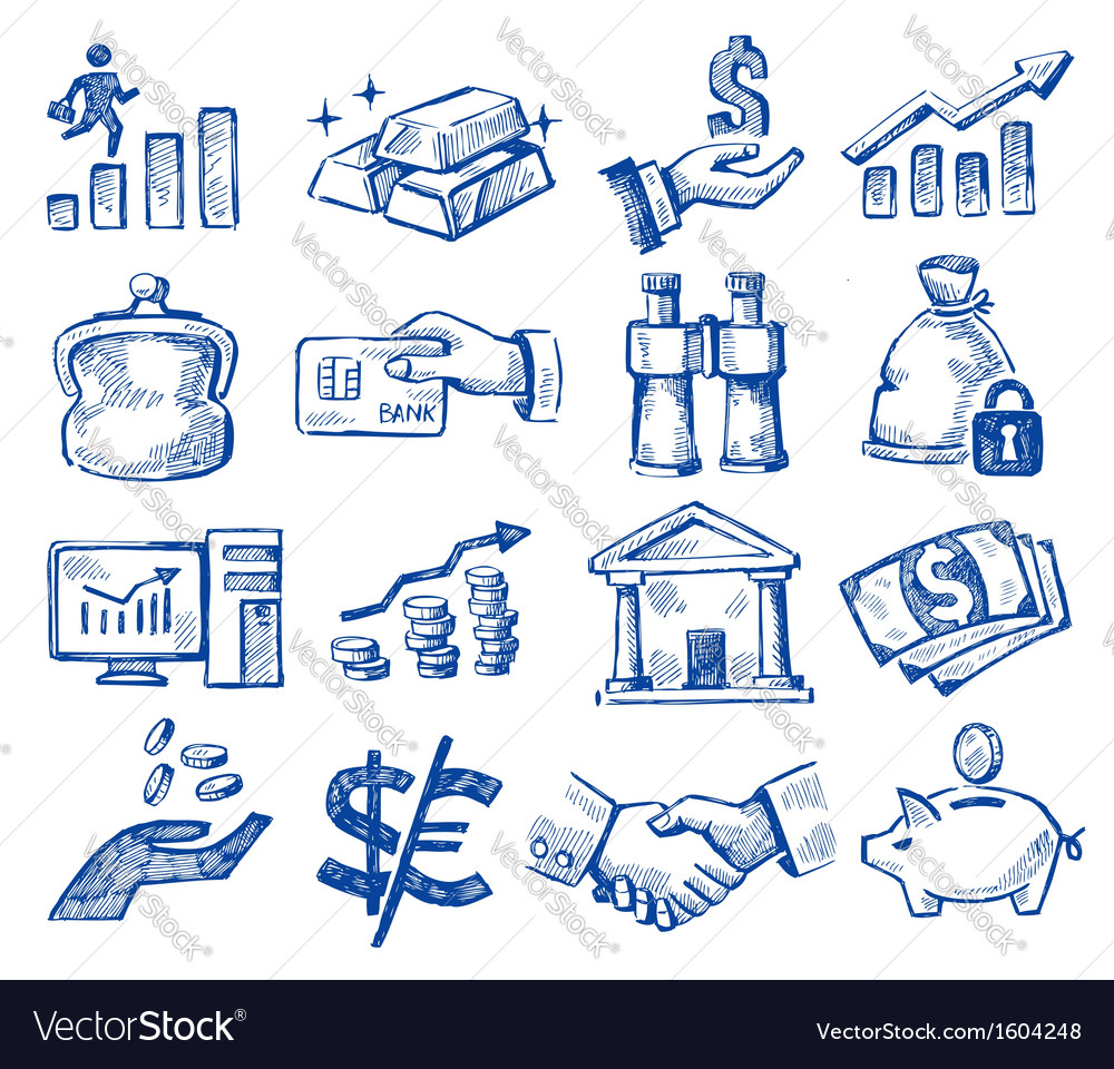 Hand drawn money and business vector