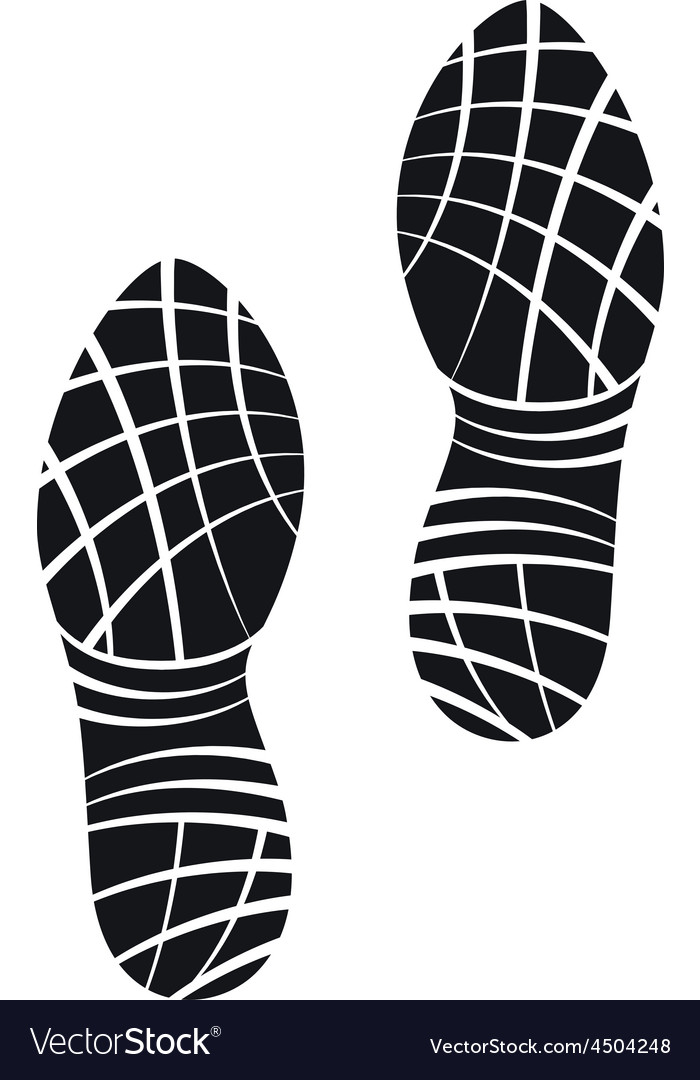 Running shoes foot print vector