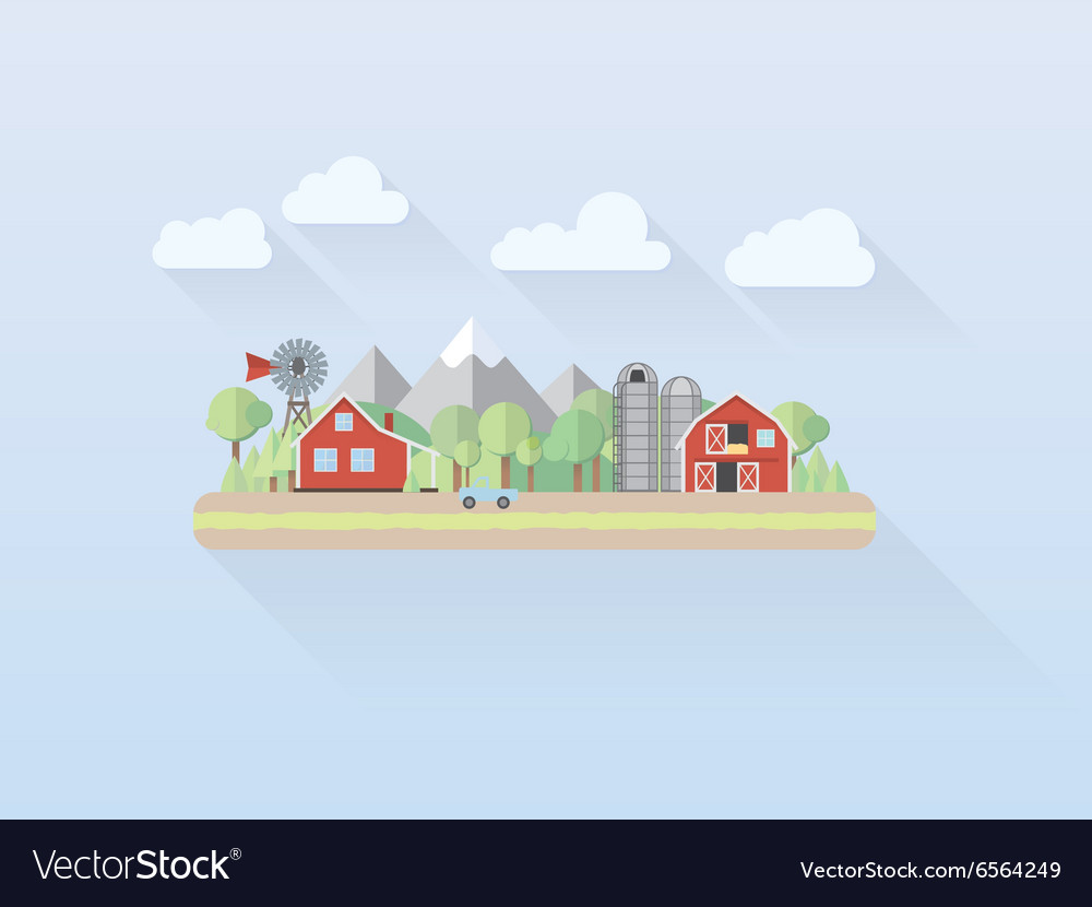 Flat design simple pastel countryside vector