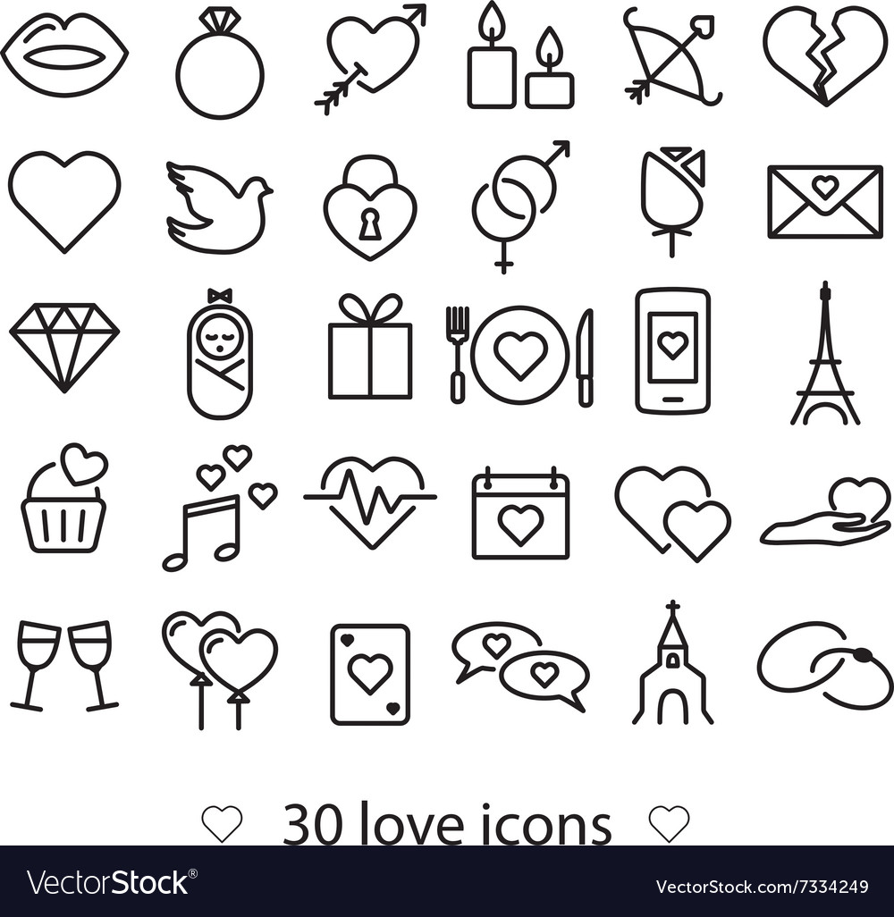 Love line icons vector