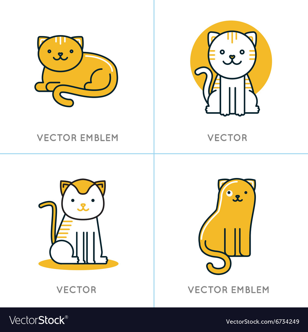 Set of icons and in trendy linear style vector