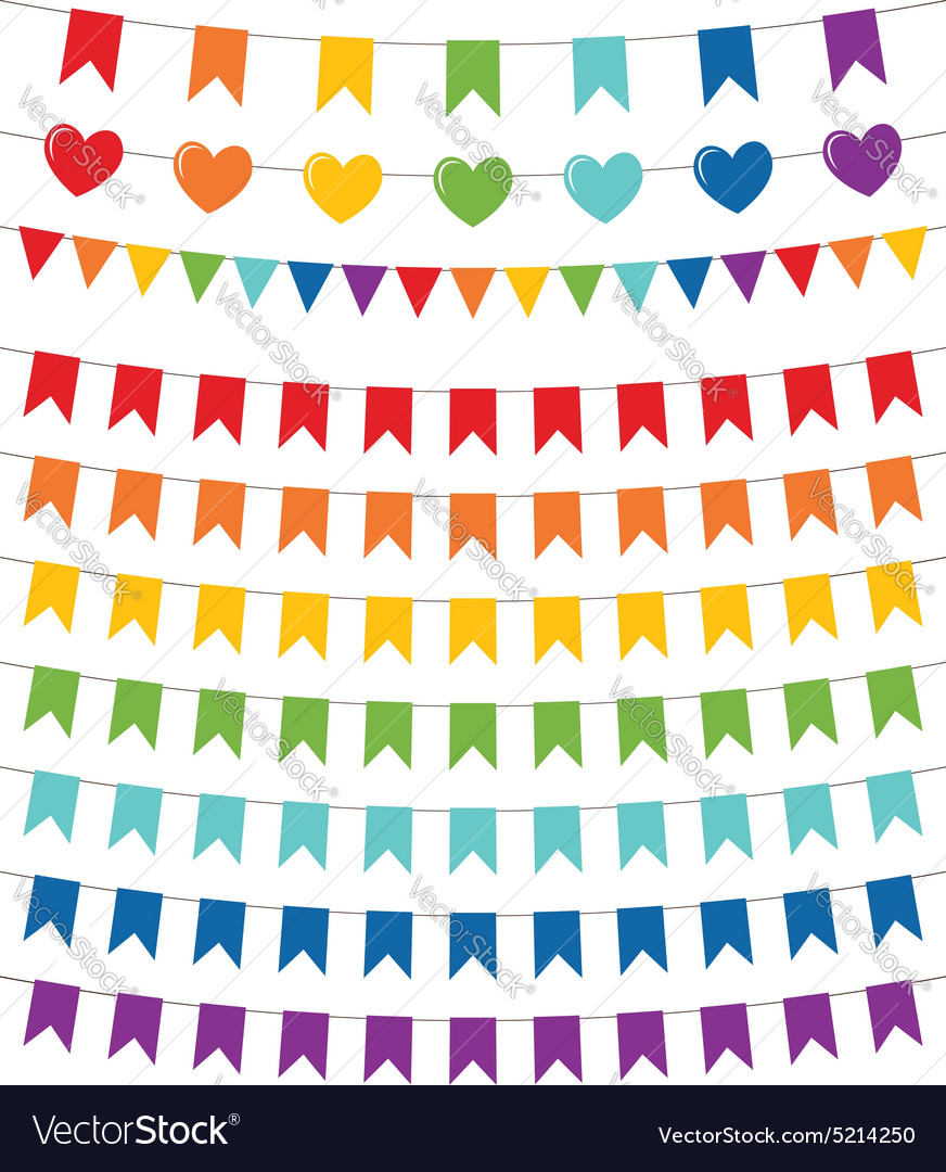 Rainbow colors bunting set vector