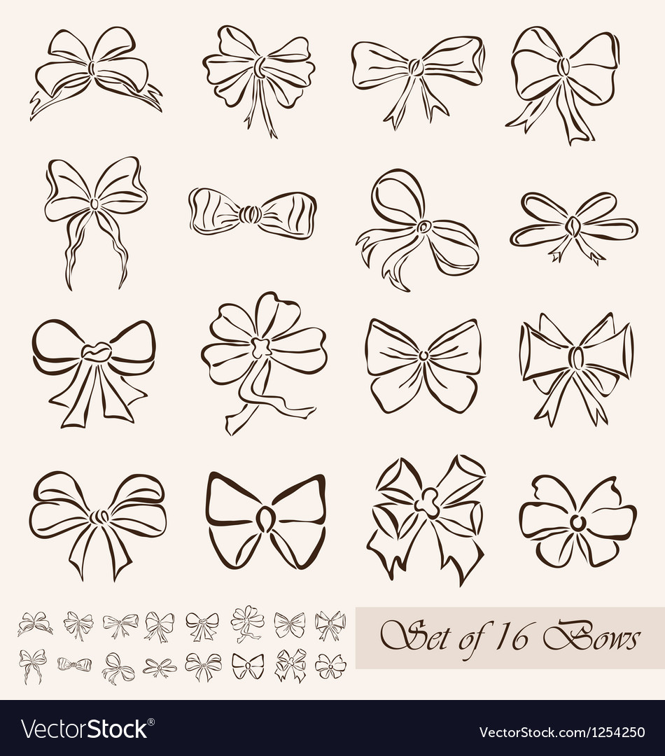 Set of 16 bows vector