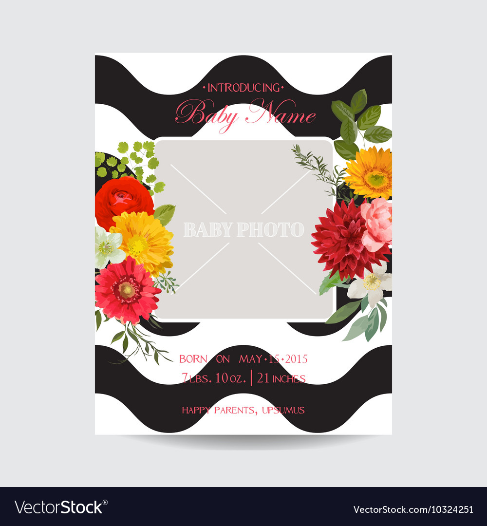 Baby arrival or shower card  with photo frame vector