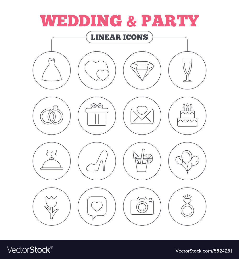 Wedding and party icon dress diamond ring vector