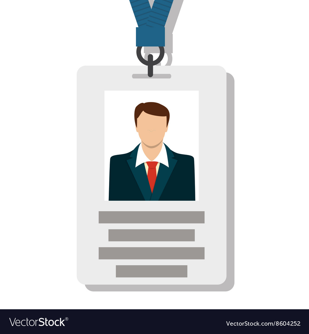 Badge pass card id in modern flat style vector