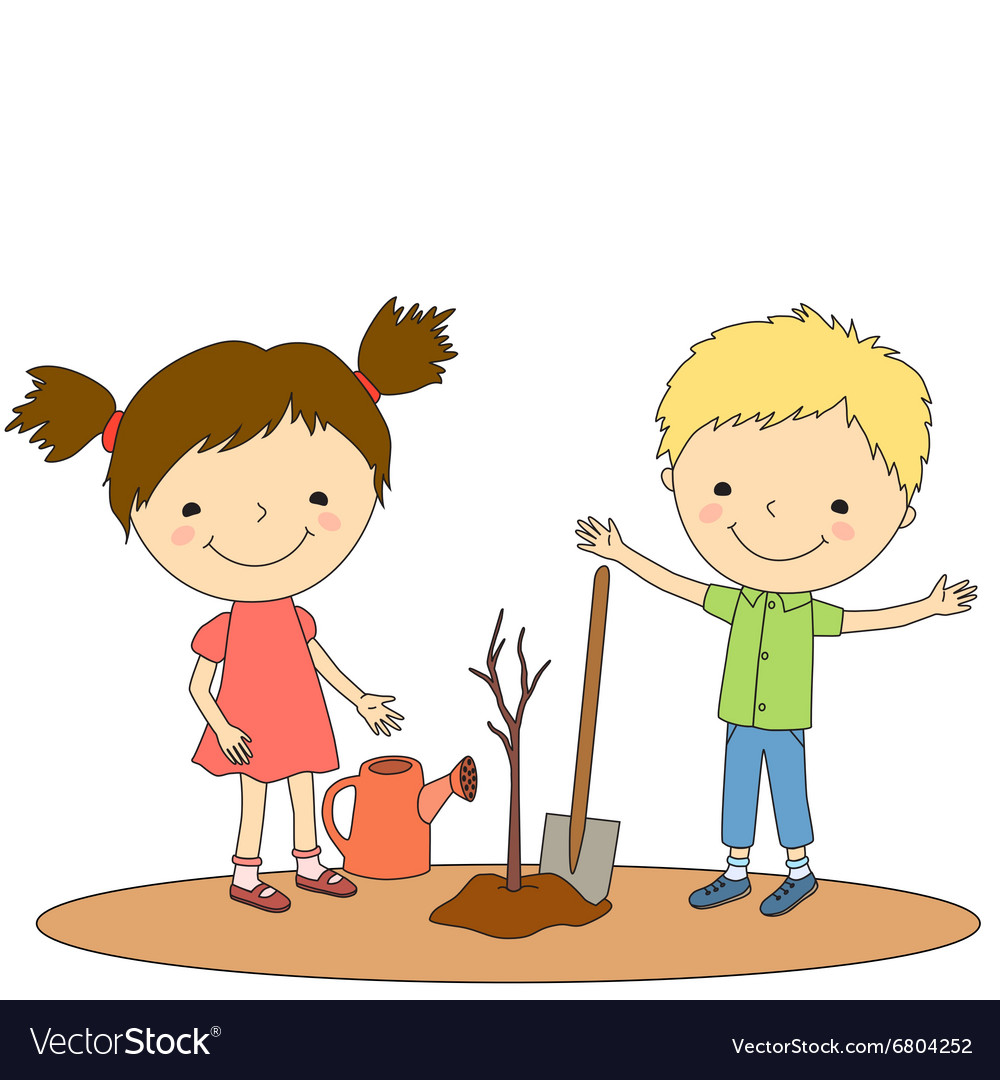 Children plant 2 vector