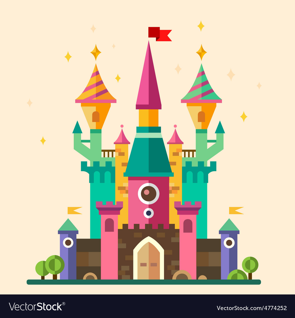 Magical fabulous cartoon castle vector