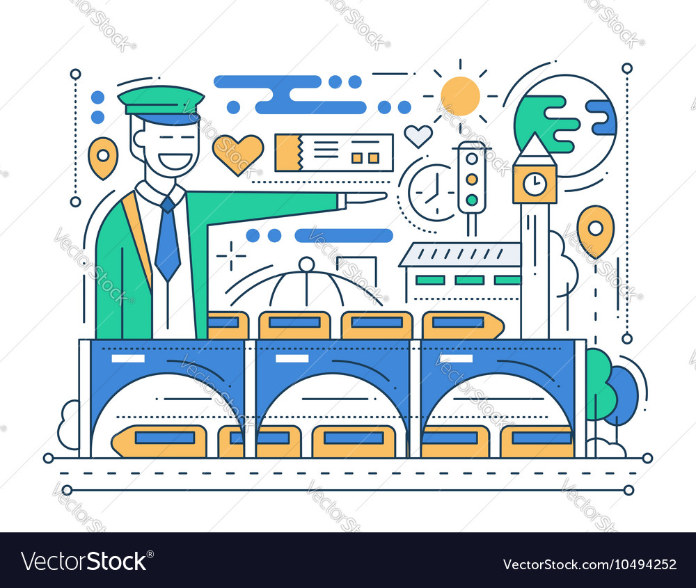 Railway station  line design composition vector