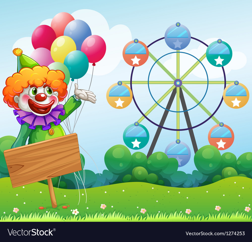 A clown with balloons at the back of an empty vector