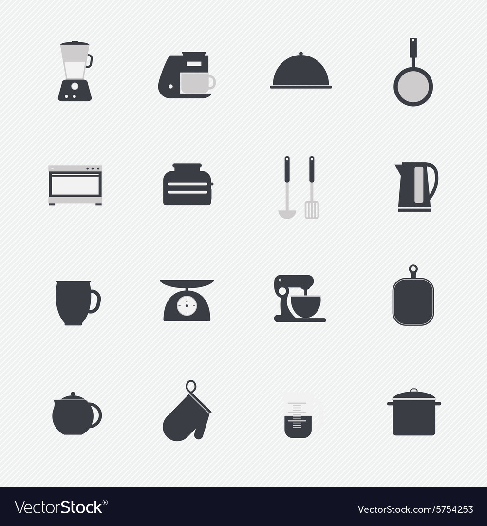 Kitchen utensils and cookware icons set vector