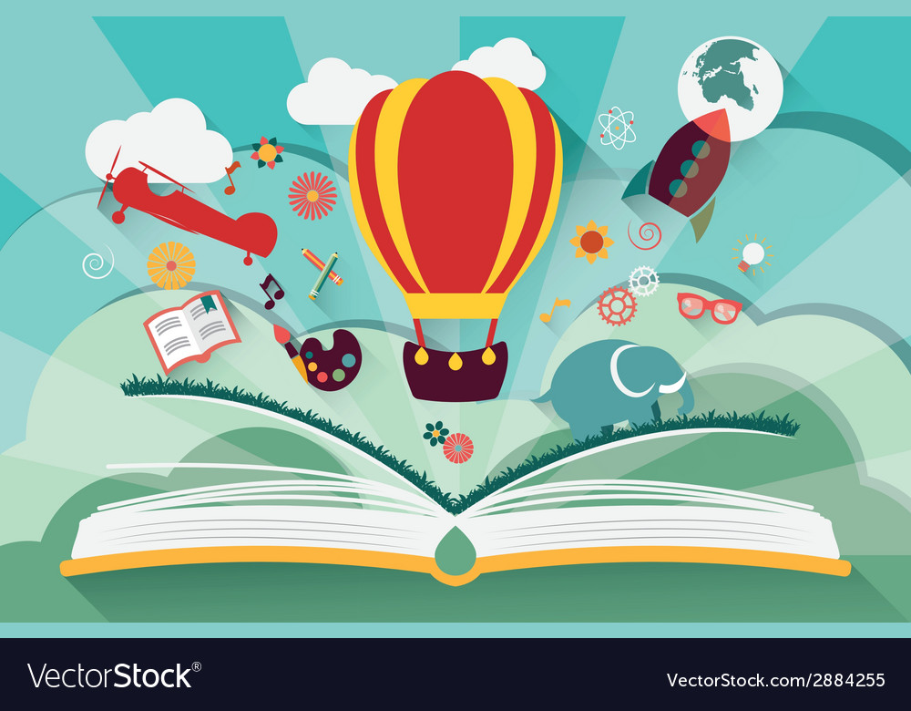 Imagination concept  open book with air balloon vector