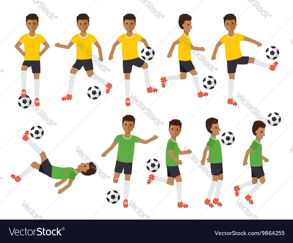 Soccer players football sport athletes in actions vector