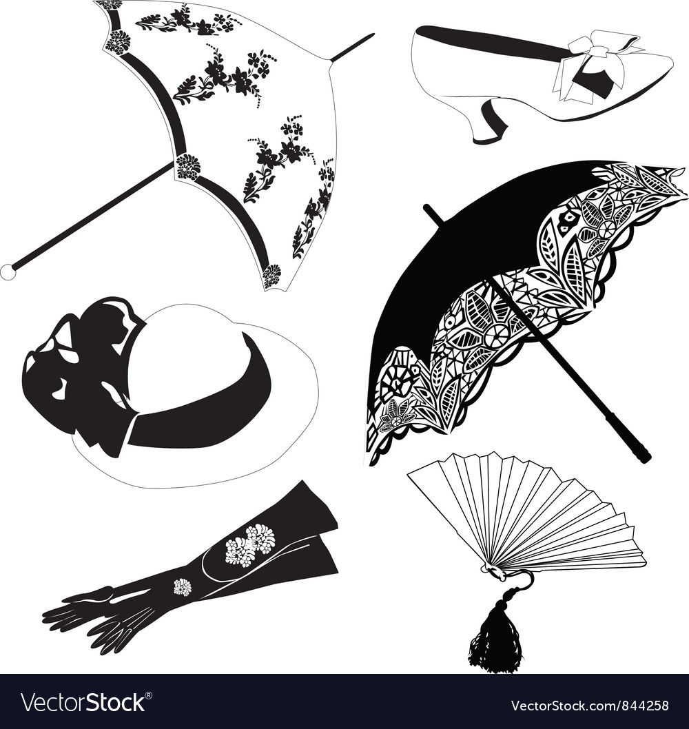 Collection of vintage accessories vector