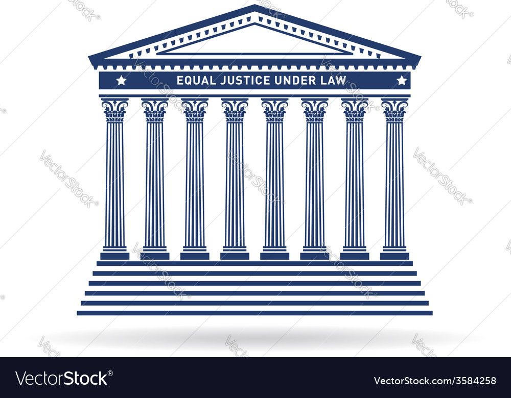 Justice court building image icon vector
