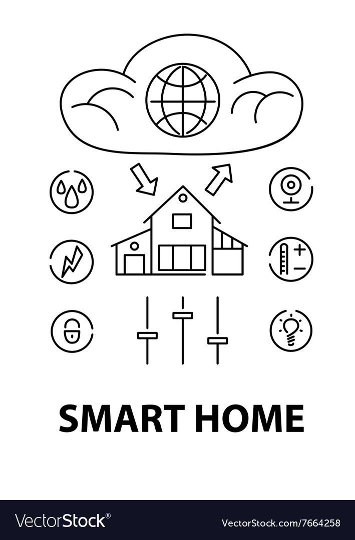 Line style design concept of smart house network vector