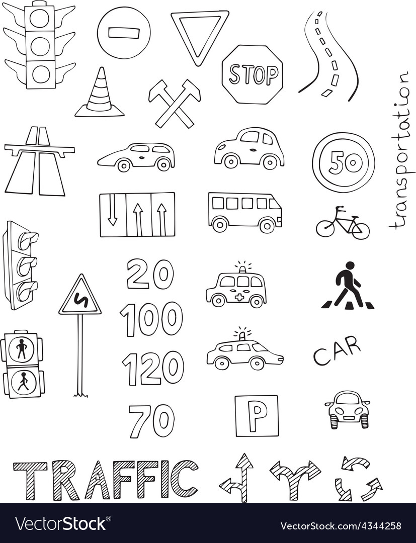 Traffic rules set vector