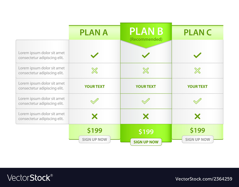 Pricing list with recommended option vector