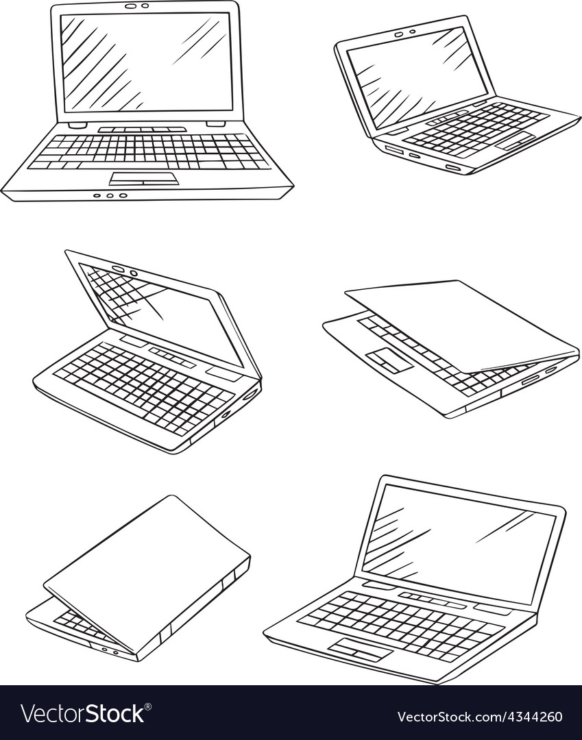 Laptop drawings set vector