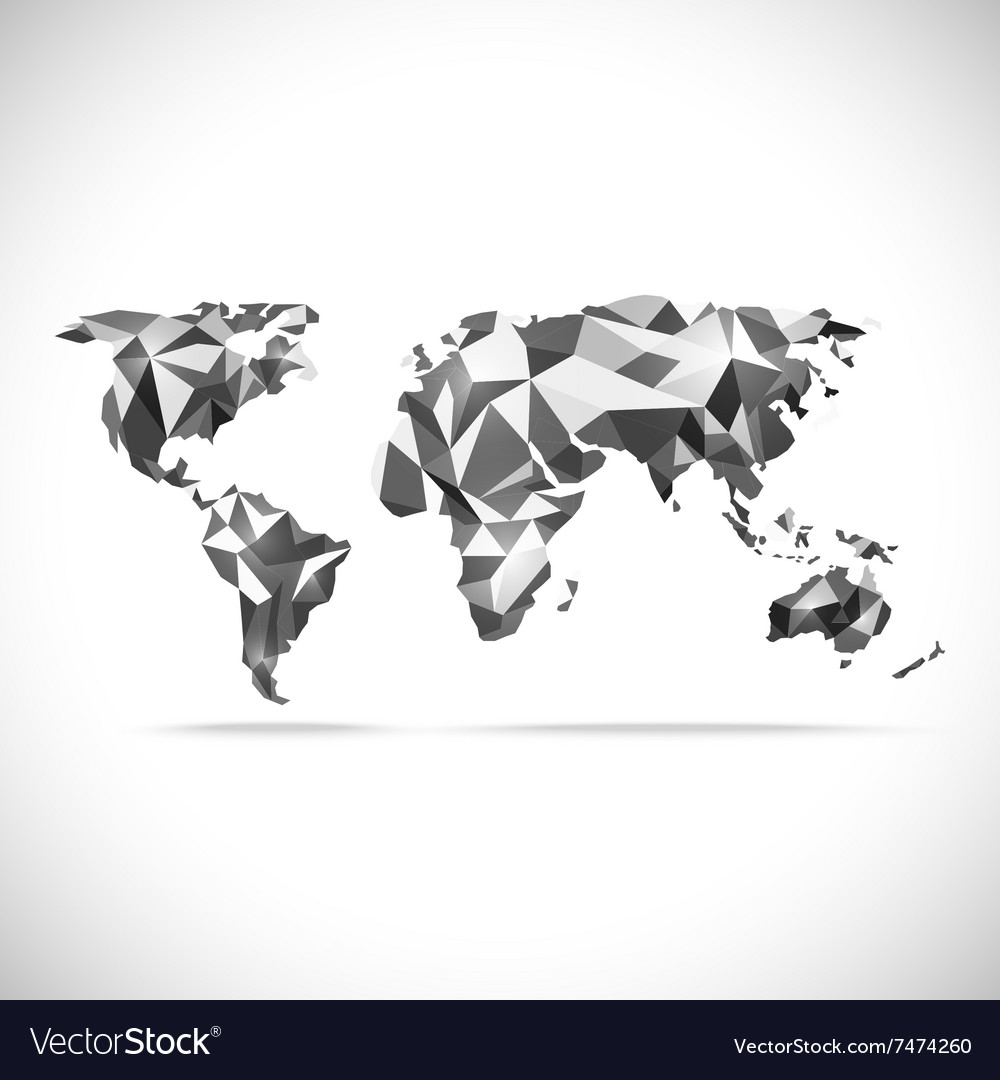 World map polygonal precision lowpoly vector