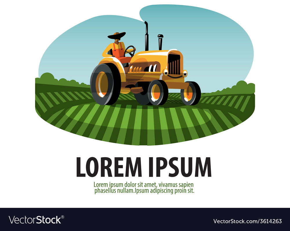 Farm tractor and harvest logo icon emblem template vector