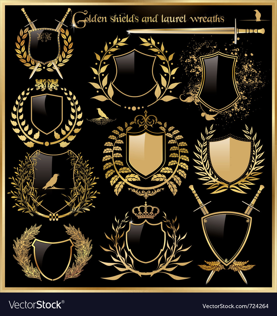 Golden shields and laurel wreaths vector