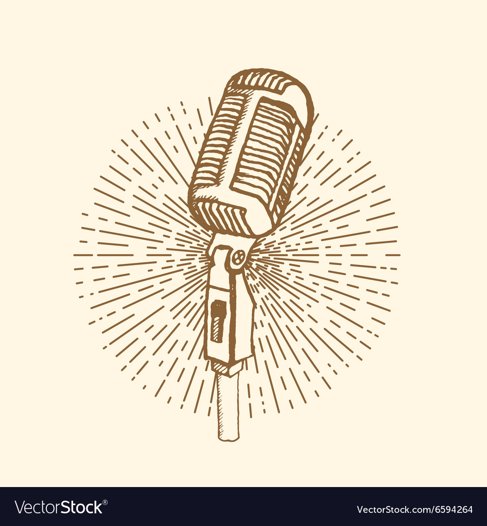 Microphone vintage style vector
