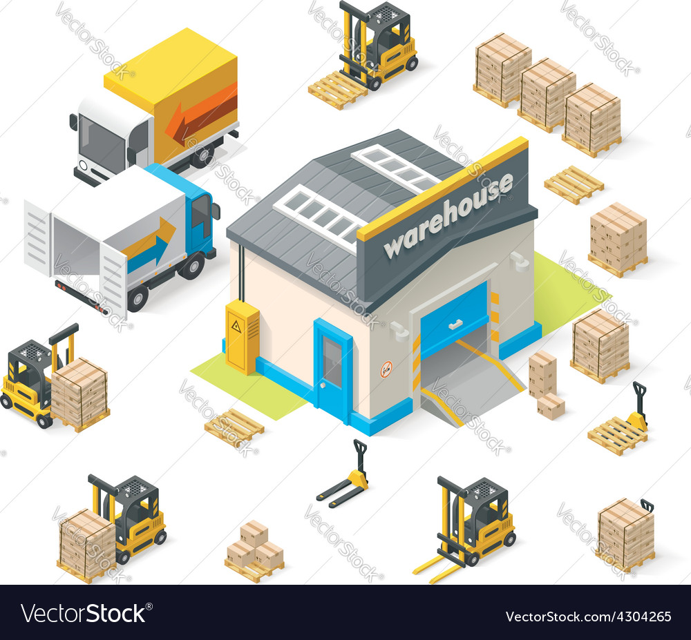 Isometric warehouse vector
