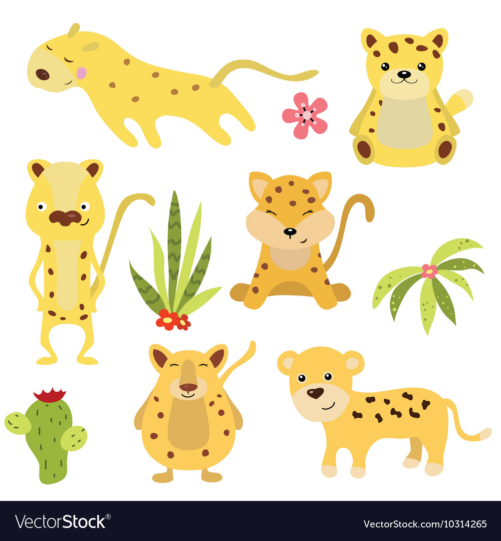 Set funny leopards vector