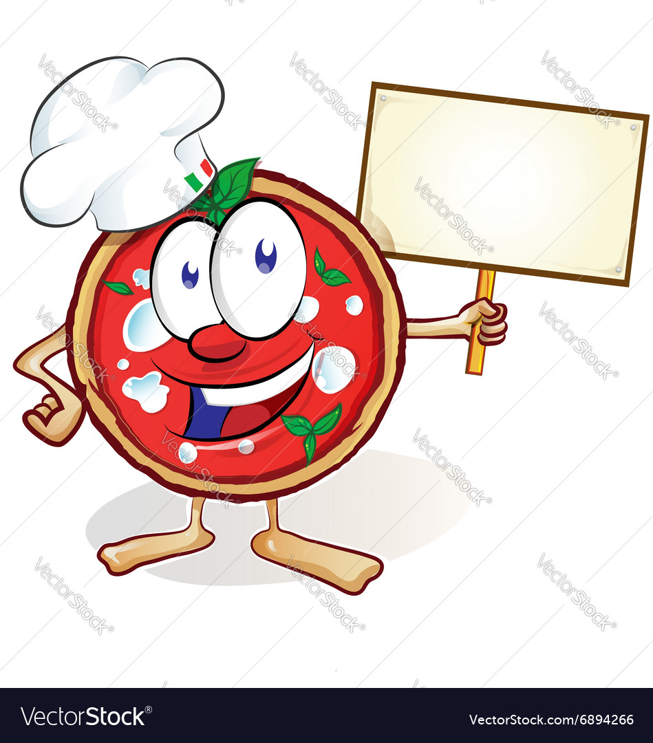 Fun pizza cartoon with signboard vector