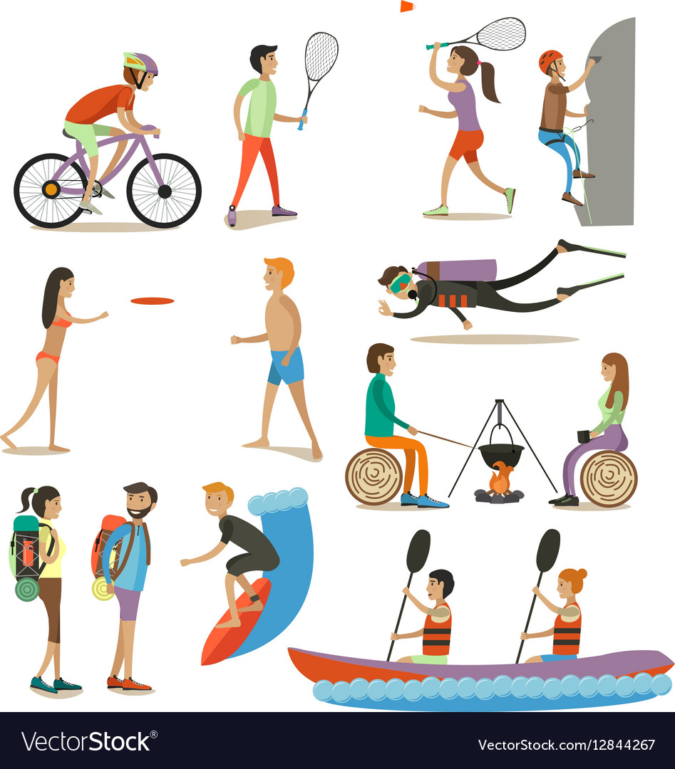 Set of characters summer outdoor vector