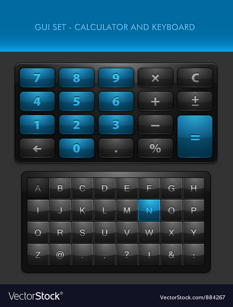 User interface elements  calculator and ke vector