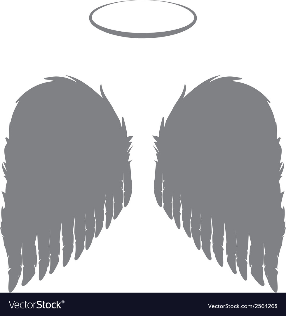 Angel wings and halo vector