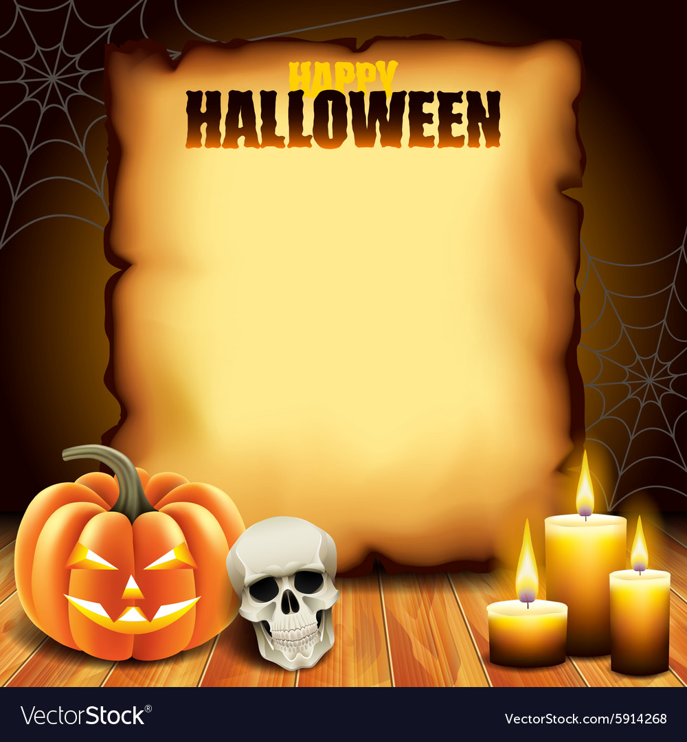 Halloween paper with pumpkin skull and candles vector