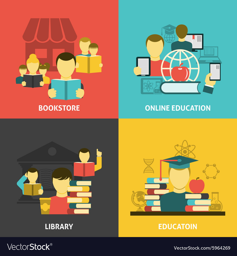 Education reading flat icons square banner vector
