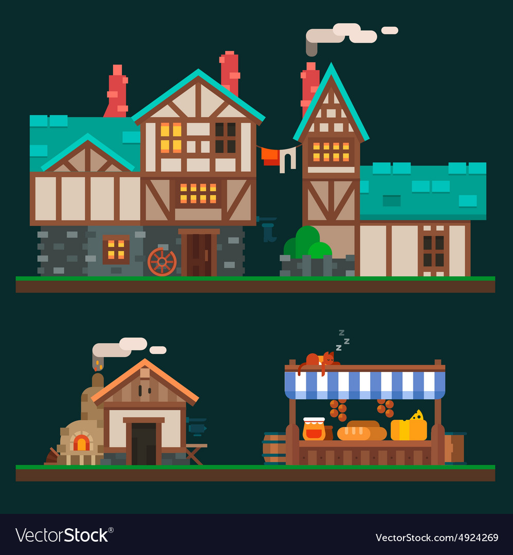 Old stone houses vector