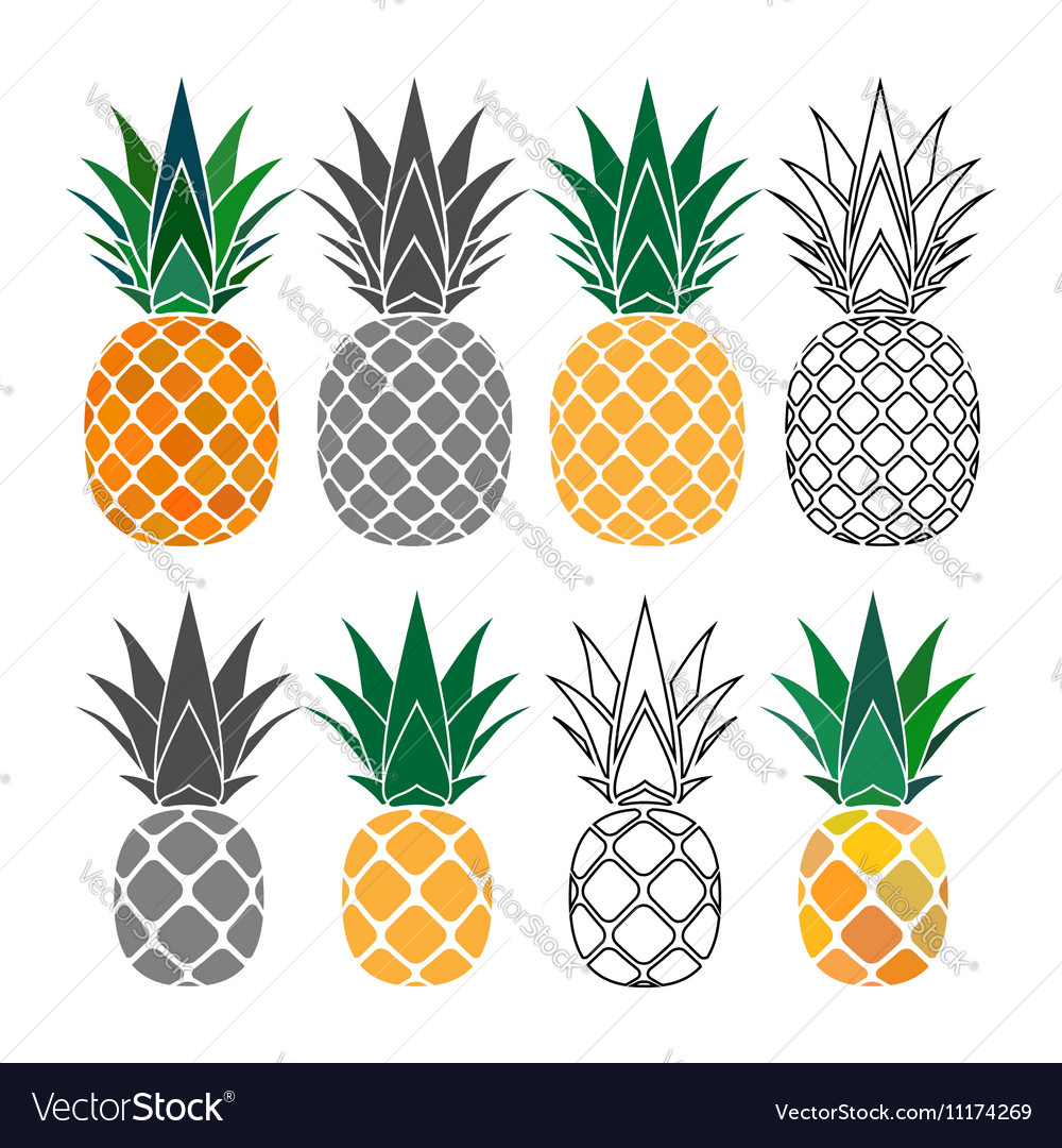 Pineapple yellow gray icons set vector