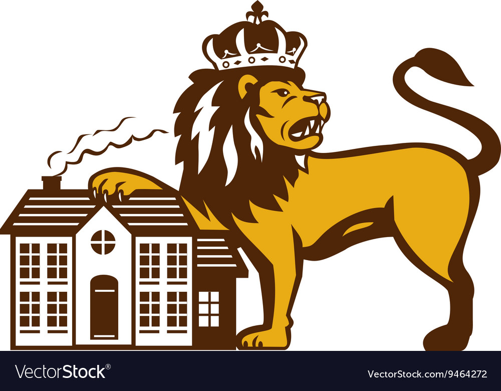 Angry lion paw on house isolated retro vector