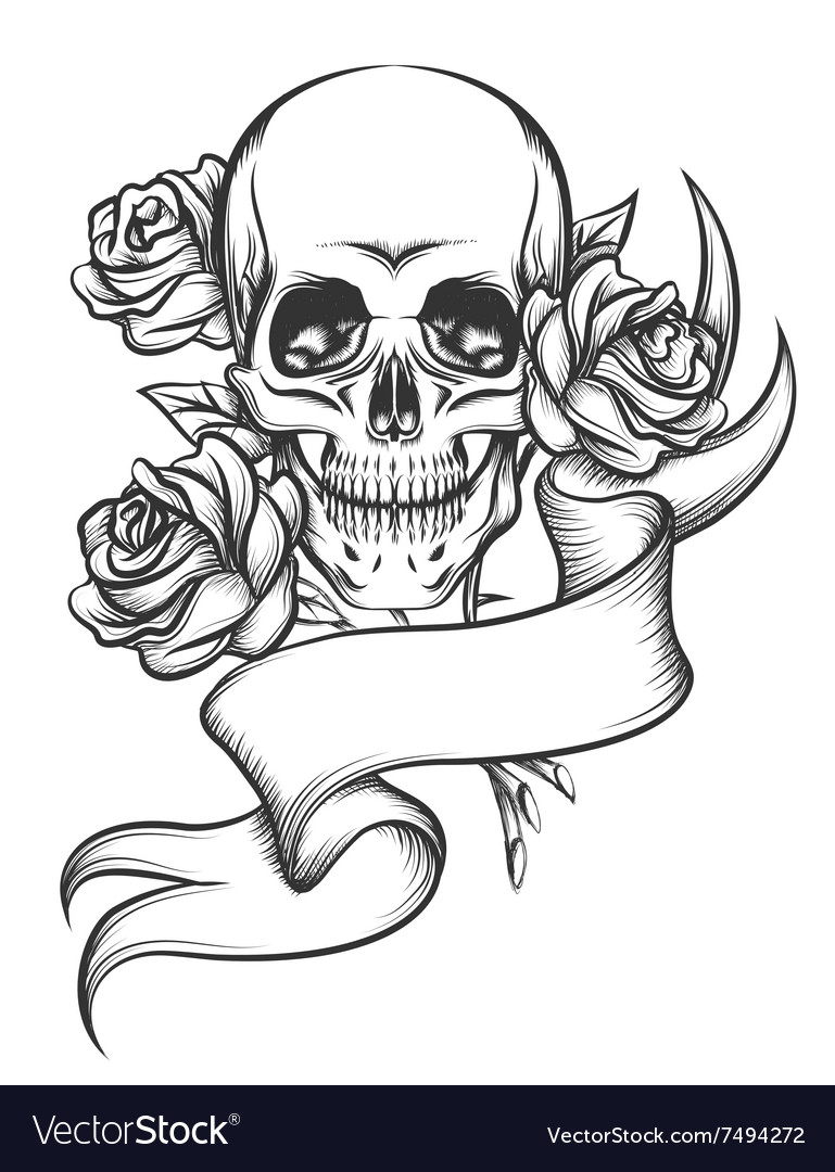 Skull and roses with ribbon vector